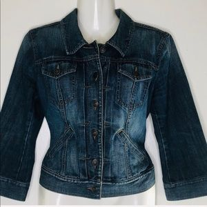 Ann Taylor classy Moto style cropped Jeans jacket